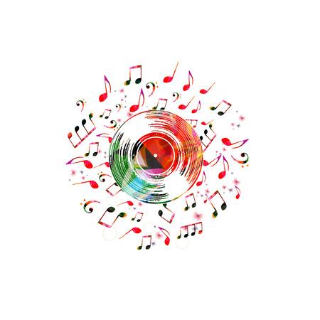 Colorido cartel musical con disco de vinilo y notas musicales. Elementos de música para tarjeta, cartel, invitación, ilustración de vector de diseño de fondo de música.