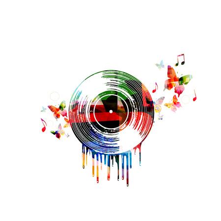 Kleurrijke muziekaffiche met vinylverslag en muzieknota's. Muziekelementen voor kaart, poster, uitnodiging. Muziek achtergrondontwerp vectorillustratie