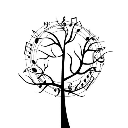 音楽ノートと黒と白の音楽ツリー。カード、ポスター、招待状の音楽記号。音楽背景デザインベクトルイラスト  イラスト・ベクター素材