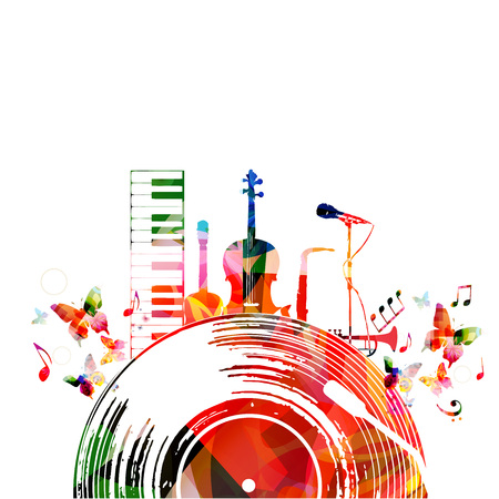 Colorful music poster with vinyl record and music instruments. Music background design vector illustration. Colorful piano keyboard, violoncello, guitar, saxophone, trumpet and microphone isolated Vettoriali