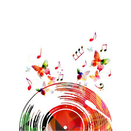 ビニールレコードと音楽ノートとカラフルな音楽ポスター。カード、ポスター、招待状の音楽要素。音楽背景デザインベクトルイラスト