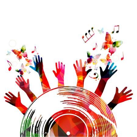 ビニールレコードと音楽ノートとカラフルな音楽ポスター。カード、ポスター、パーティーの招待状のための音楽要素。音楽背景デザインベクトル