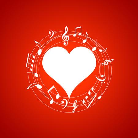 O coração deu forma ao frame com notas da música no fundo vermelho. Elementos de música para cartão, cartaz, convite para festa. Ilustração em vetor design música fundo Foto de archivo - 94220118