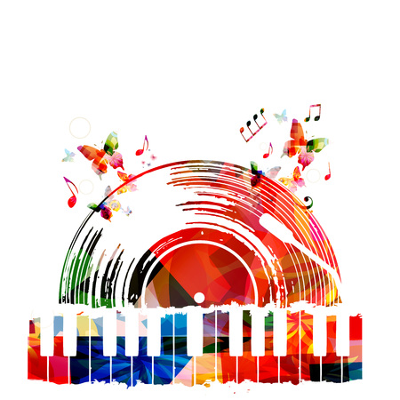 Colorful music poster with vinyl record and piano keyboard. Music elements for card, poster, invitation. Music background design vector illustration