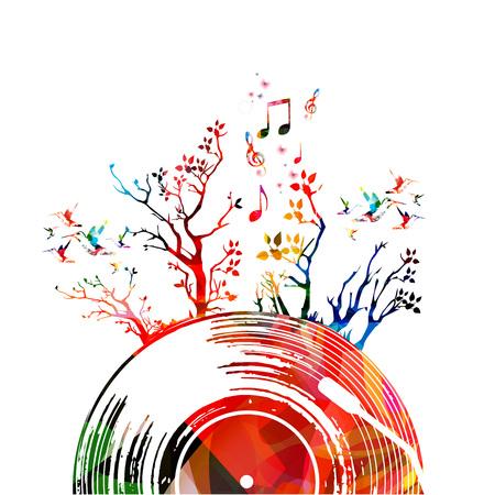Kleurrijke muziekaffiche met vinylverslag en bomen. Muziekelementen voor kaart, poster, uitnodiging. Muziek achtergrondontwerp vectorillustratie