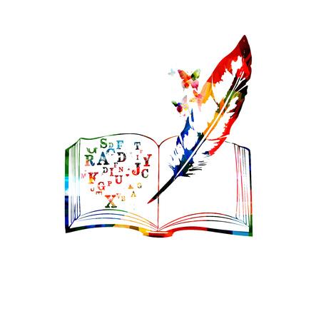 アルファベットの文字ベクトルイラストとカラフルなオープンブック。クリエイティブライティング、コース、トレーニング、教育コンセプトの背  イラスト・ベクター素材