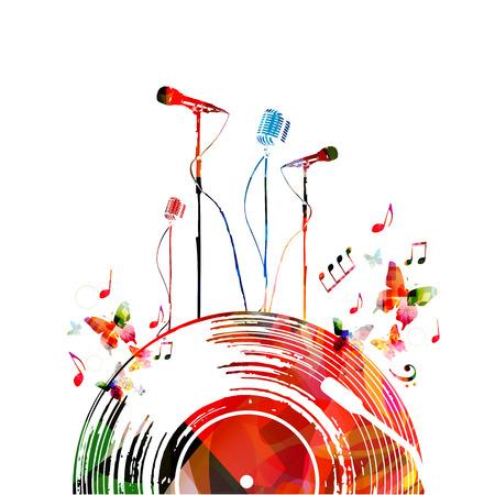 Kleurrijke muziekaffiche met vinylverslag en microfoons. Muziekelementen voor kaart, poster, concertuitnodiging. De muziek neemt nota van achtergrondontwerp vectorillustratie
