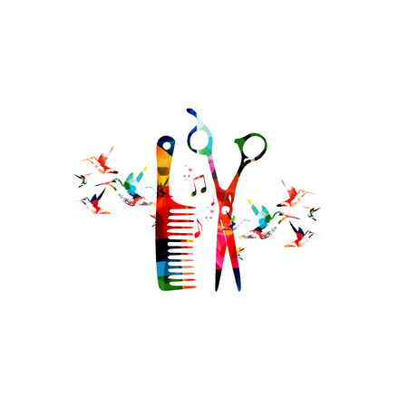 Hairdressing tools background with colorful comb and scissors vector illustration