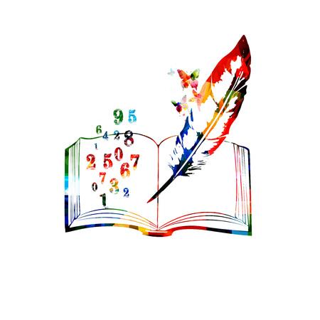 Livre ouvert coloré avec illustration vectorielle de nombres. Fond de concept de mathématiques et d'éducation