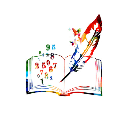 Colorful open book with numbers vector illustration. Mathematics and education concept background