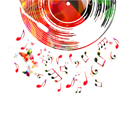 Colorful music poster with vinyl record and music notes. Music elements for card, poster, invitation. Music background design vector illustration