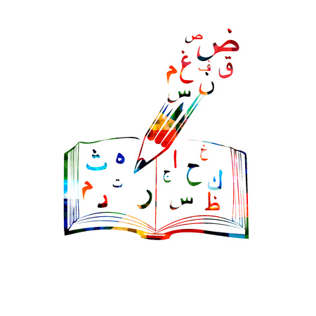 Colorful Arabic Islamic calligraphy symbols with open book vector illustration. Creative writing, education concept background