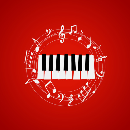 Piano keys with stave and music notes on red background. Music festival poster. Music elements for card, poster, party invitation.