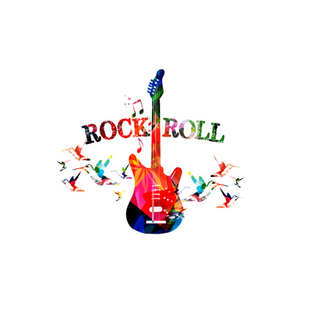 Music colorful background with guitar. Rock music festival poster. Guitar isolated vector illustration. Music instrument vector Vectores