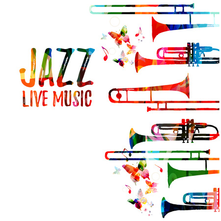 Jazz music colorful background. Jazz music festival poster. Word jazz with saxophone isolated vector illustration. Music instrument vector
