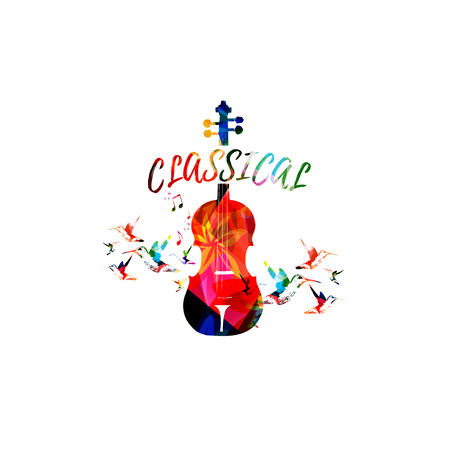 Music colorful background with violoncello. Music festival poster. Cello isolated vector illustration. Music instrument vector