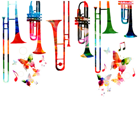 Music colorful background with saxophones. Jazz music festival poster. Saxophone isolated vector illustration. Music instrument vector Stock Illustratie