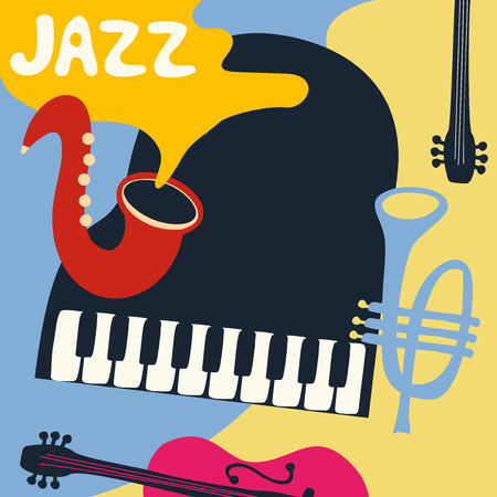 Jazz music festival poster with music instruments. Saxophone, piano, violoncello and trumpet flat vector illustration. Jazz concert. Vettoriali