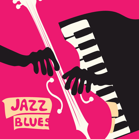 Jazz music festival poster with music instruments. Violoncello and piano keys flat vector illustration. Jazz concert.