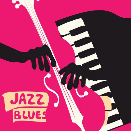 Jazz muziek festival poster met muziekinstrumenten. Violoncello en piano toetsen platte vectorillustratie. Jazz concert.
