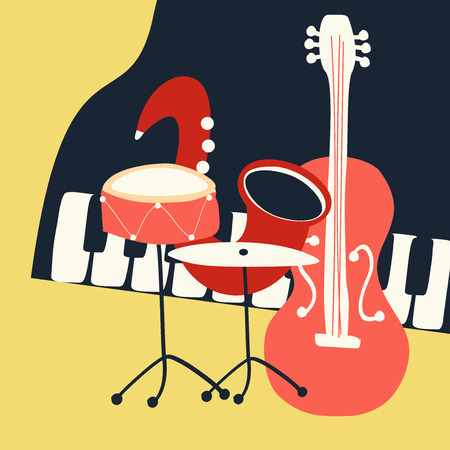 Jazz music festival poster with music instruments. Saxophone, piano, violoncello and cymbals flat vector illustration. Jazz concert. Illustration