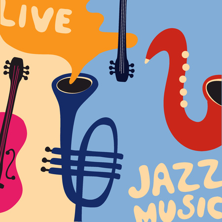 Jazz music festival poster with music instruments. Saxophone, violoncello and trumpet flat vector illustration. Jazz concert.