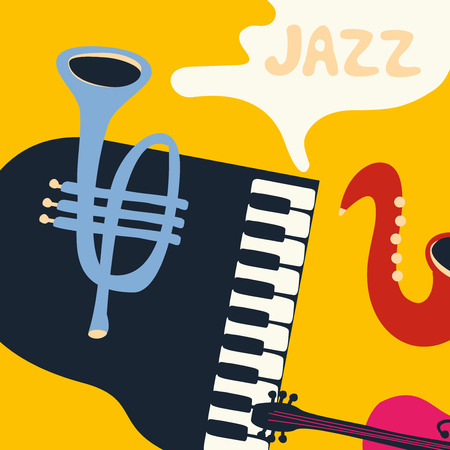 Jazz music festival poster with music instruments. Saxophone, piano, violoncello and trumpet flat vector illustration. Jazz concert. Иллюстрация