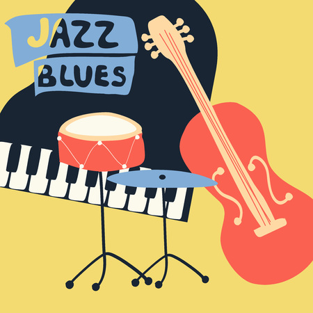 Jazz music festival poster with music instruments. Piano, violoncello and cymbals flat vector illustration.