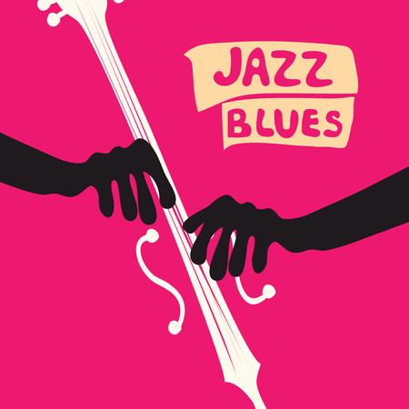 ヴィオロンチェロのジャズ音楽祭ポスター。チェロフラットベクトルのイラスト。