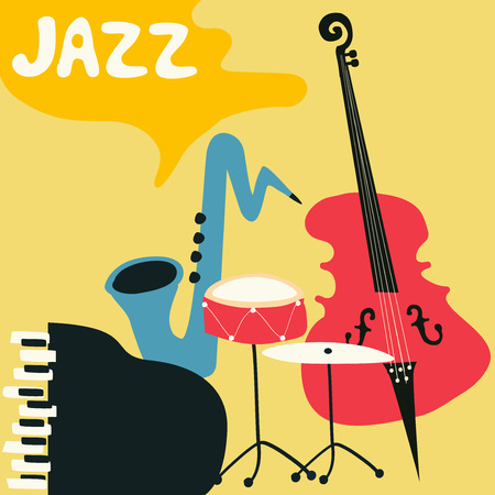 Jazz music festival poster with music instruments. Saxophone, piano, violoncello and cymbals flat vector illustration.