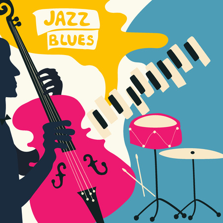 Jazz music festival poster with music instruments. Piano, violoncello and cymbals flat vector illustration. Jazz concert poster with cello player Vettoriali