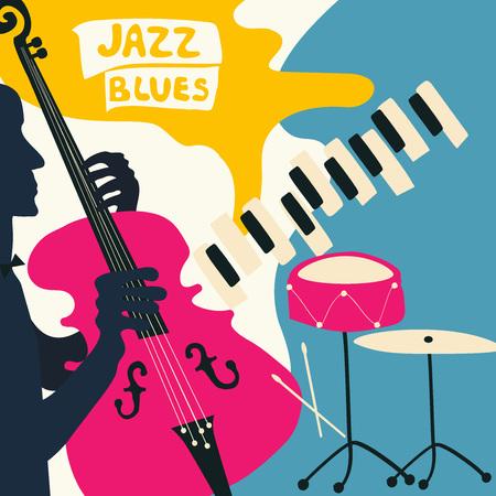 Plakat festiwalu muzyki jazzowej z instrumentami muzycznymi. Ilustracja wektorowa płaskie fortepian, wiolonczela i talerze. Plakat koncert jazzowy z wiolonczelistą