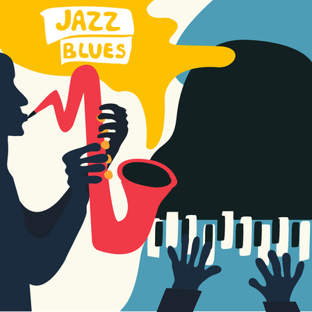 Jazz music festival poster with music instruments. Saxophone and piano flat vector illustration. Jazz concert poster with men playing saxophone and piano