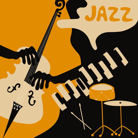 Jazz music festival poster with music instruments. Piano, violoncello and cymbals flat vector illustration. Jazz concert Illustration