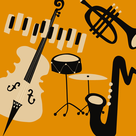 Jazz music festival poster with music instruments. Saxophone, piano, violoncello, trumpet and cymbals flat vector illustration. Jazz concert Illustration