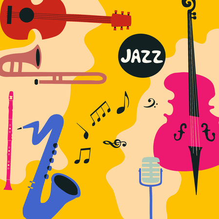 Jazz music festival poster with music instruments. Saxophone, trumpet, guitar, violoncello, microphone and clarinet flat vector illustration. Jazz concert. Archivio Fotografico - 96683473