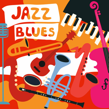 Jazz music festival poster with music instruments. Saxophone, trumpet, guitar, violoncello, piano, clarinet and microphone flat vector illustration. Jazz concert. Archivio Fotografico - 96683474