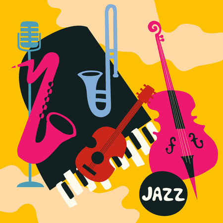 Jazz music festival poster with music instruments. Saxophone, trumpet, guitar, violoncello, piano and microphone flat vector illustration.