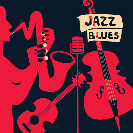 Jazz music festival poster with music instruments. Saxophone, guitar, violoncello and microphone flat vector illustration. Jazz concert poster template with saxophonist Stock Illustratie