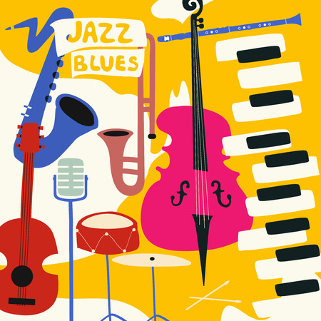 Jazz music festival poster with music instruments. Saxophone, trumpet, guitar, violoncello, piano, cymbals, clarinet and microphone flat vector illustration. Vettoriali