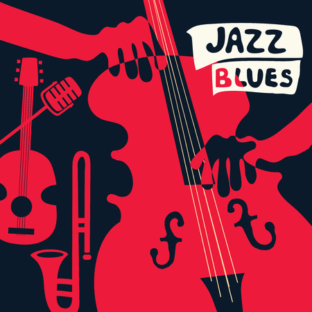 Jazz music festival poster with music instruments. Violoncello, guitar, trumpet and microphone flat vector illustration.