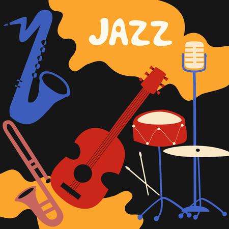Cartel del festival de música de jazz con instrumentos musicales. Ilustración de vector plano de saxofón, trompeta, guitarra, platillos y micrófono. Foto de archivo - 96606668
