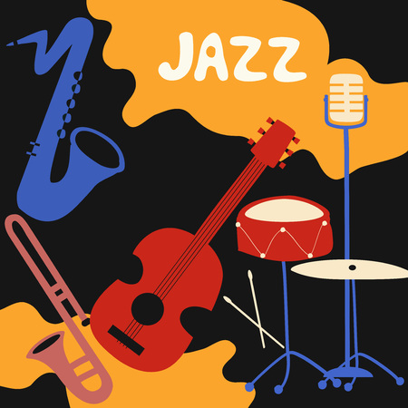 Jazz music festival poster with music instruments. Saxophone, trumpet, guitar, cymbals and microphone flat vector illustration. Stock Illustratie