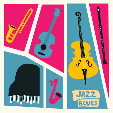 Jazz music festival poster with music instruments. Saxophone, trumpet, guitar, violoncello, piano and clarinet flat vector illustration. 일러스트