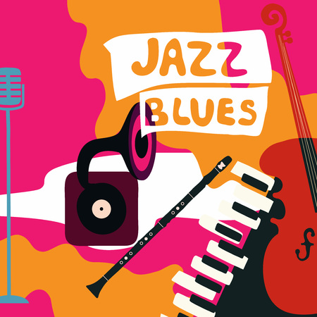 Jazz music festival poster with music instruments. Gramophone, violoncello, piano, clarinet and microphone flat vector illustration. Jazz concert