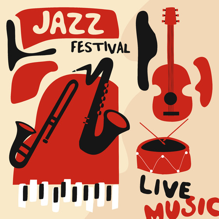 Jazz music festival poster with music instruments. Saxophone, trumpet, guitar, piano and drum flat vector illustration. Jazz concert Vettoriali