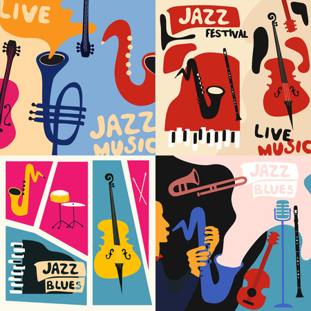 Set of music cards and banners. Music cards with instruments flat vector illustration. Jazz music festival banners. Colorful jazz concert posters Imagens - 97070359