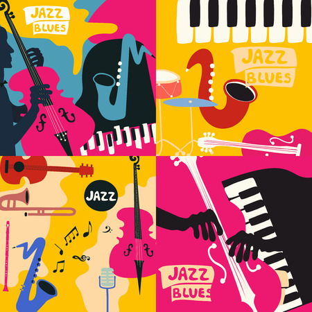 Set of music cards and banners. Music cards with instruments flat vector illustration. Jazz music festival banners. Colorful jazz concert posters Imagens - 97070358