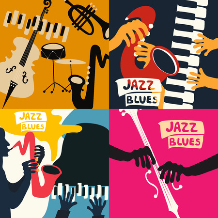 Set of music cards and banners vector illustration Иллюстрация