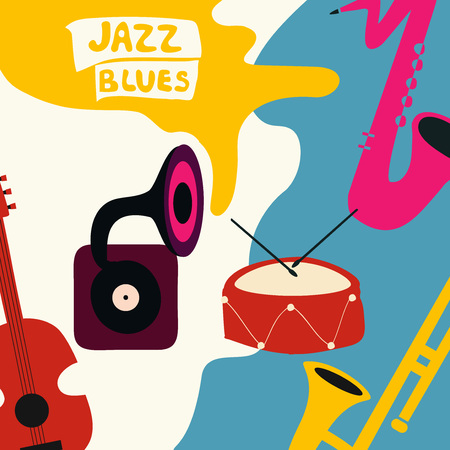 Jazz music festival poster with music instruments. Saxophone, trumpet, guitar, drum and gramophone flat vector illustration. Jazz concert